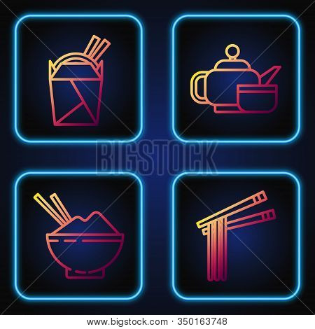 Set Line Asian Noodles And Chopsticks, Rice In A Bowl With Chopstick, Asian Noodles In Paper Box And