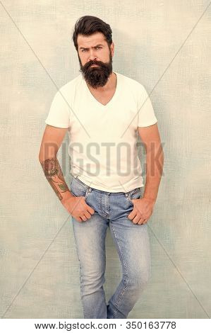 Perfect Male. Sexy Brutal Macho Gray Background. Male Temper Brutality. Bearded Man Radiate Masculin
