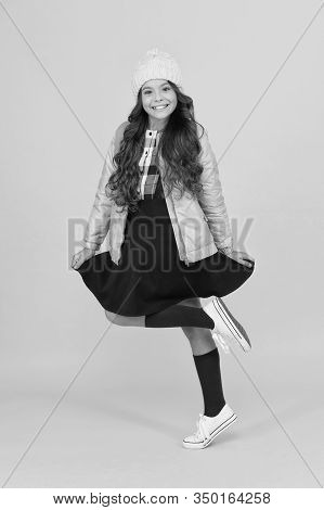 Feeling Playful. Modern Outfit. Adorable Schoolgirl Winter Outfit. Schoolgirl Tidy Outfit With Backp