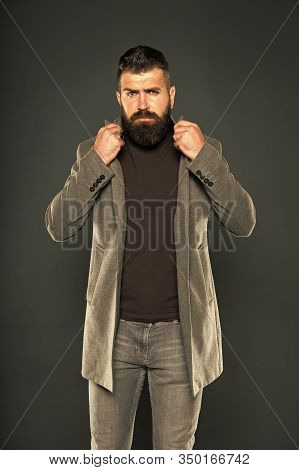 Masculine Look. Fashion Outfit. Brutal Hipster Man. Hipster Wearing Casual Clothes. Hipster Beard An