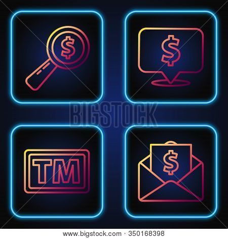 Set Line Envelope With Coin Dollar, Trademark, Magnifying Glass And Dollar And Speech Bubble With Do