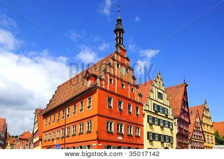 Panoramic view of the houses in Dinkelsbuhl.