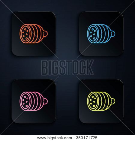 Color Neon Line Salami Sausage Icon Isolated On Black Background. Meat Delicatessen Product. Set Ico