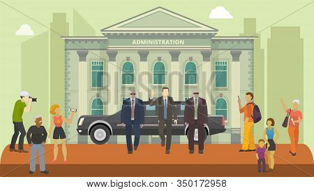 Politician Public Figure On Administration Government Building Facade Background Vector Illustration