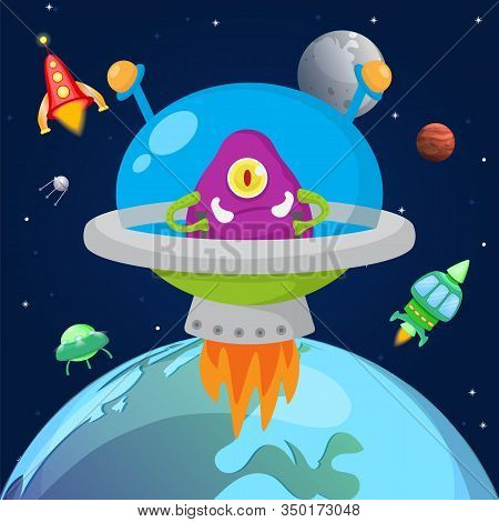 Alien One Eyed Violet Monster Flying In Space In Spaceship Vector Illustration. Cartoon Cute Monstro