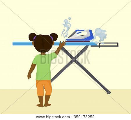 Accident Risk With Child And Hot Iron Vector Illustration. Little Girl Alone In Room At Home Reaches