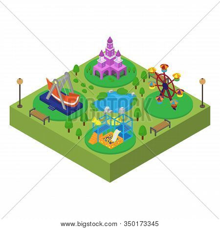 Amusement Theme Family Outdoor Park Isometric Vector Illustration Isolated. Princess Castle, Swing,