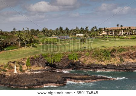 Nawiliwili, Kauai, Hawaii, Usa. - January 17, 2020: Wide View Over Timbers Kauai Ocean Green Golf Co