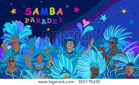 2020 Abstract Rio Brazilian Carnival music dance festival night party Happy people Samba dancers parade Sambadrome, New Orleans Mardi Gras, Notting Hill London Venezia costume mask firework exotic tropical palm leaves Spanish San Fermin fiesta vector