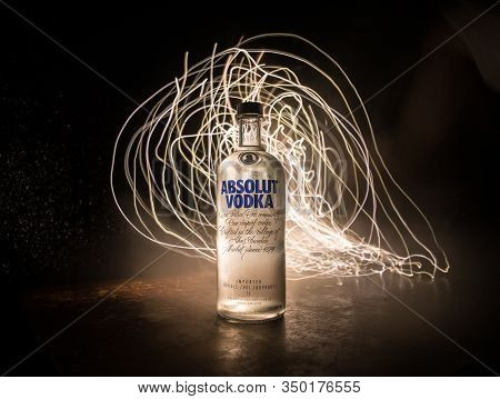 Baku, Azerbaijan - Feb 09, 2020: Absolut Vodka Is A Brand Of Vodka, Produced Near Ahus, In Sweden. O