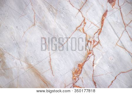 White Cracked Marble Slab With Copper Color Pattern Texture Background, Detail Of Old Foor Of Archit