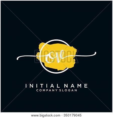 Ov Initial Handwriting Logo Design With Brush Circle. Logo For Fashion,photography, Wedding, Beauty,