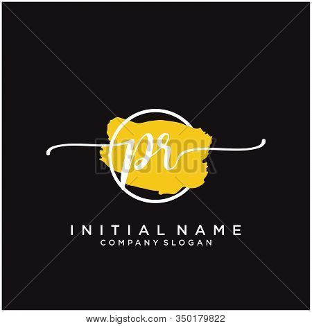 Pr Initial Handwriting Logo Design With Brush Circle. Logo For Fashion,photography, Wedding, Beauty,