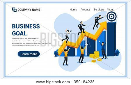 Business Goal Web Banner Concept. Businessman Run Through Column By Column To The Target For Their S