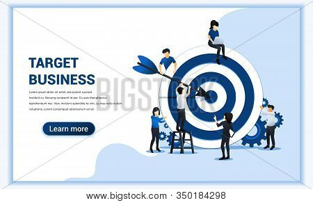 Business Web Banner Concept Design. People Put Darts On The Dartboard. Target With An Arrow, Hit The