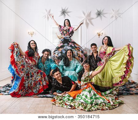 Team Of Folk Gypsy Dance Posing In Front Of The Camera