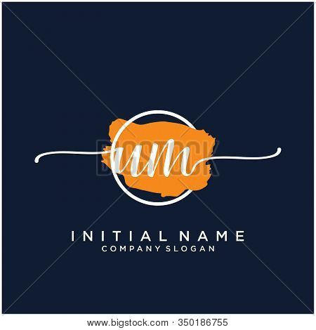 Um Initial Handwriting Logo Design With Brush Circle. Logo For Fashion,photography, Wedding, Beauty,