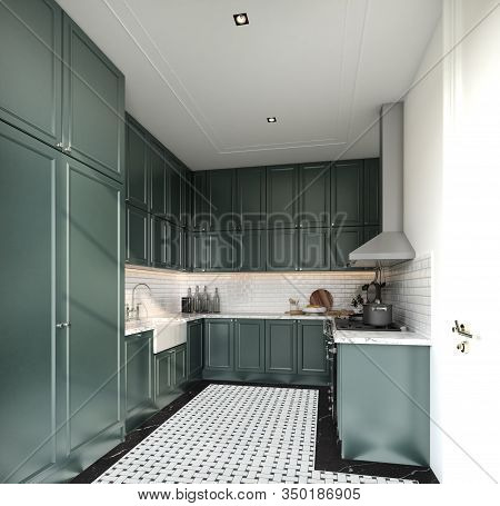 Stylish Fully Kitchen In Modern Classic Style Midnight Green Spray Painted Cabinet And White Brick T