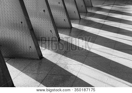 Architecture Details Of Modern Building In Black And White