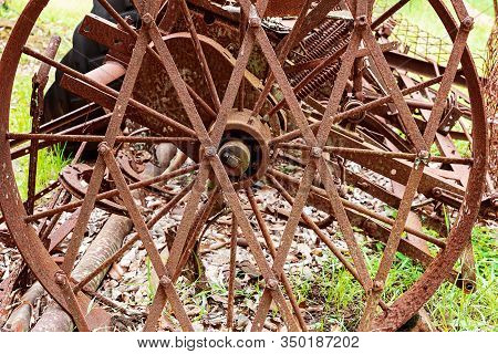 Old Rusted Farming Machinery Once Used To Till The Soil By The Early Settlers