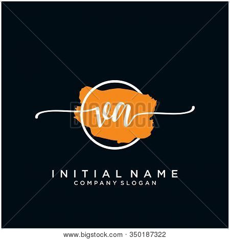 Va Initial Handwriting Logo Design With Brush Circle. Logo For Fashion,photography, Wedding, Beauty,