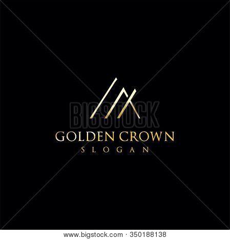Triangle Crown Logo Gold . Gold Triangle Premium Luxury Logo Icon Vector . Luxury Triangle Logo