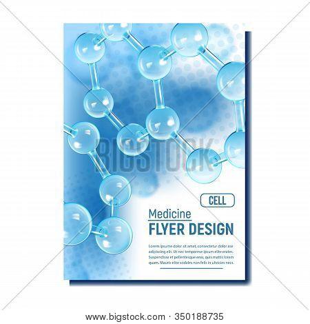 Molecule Medicine Research Report Banner Vector. Organic Spherical Rod Chemistry Molecule. Reflectiv