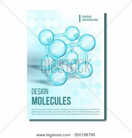 Scientific Genetic Research Cover Design Vector. Medical Science Molecule Research. Reflective And R