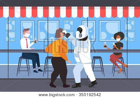 Man In Hazmat Suit Checking Temperature Of Mix Race Cafe Visitors Coronavirus Infection Epidemic Mer