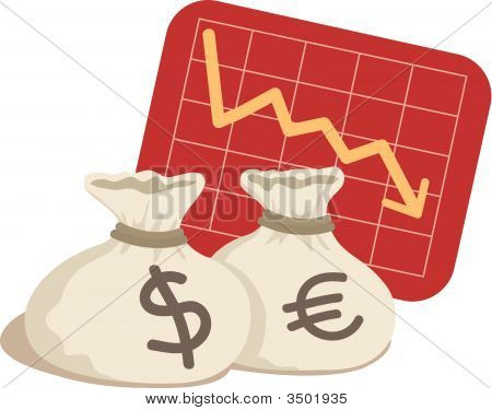 Bag Of Dollar And Euro With Chart Down