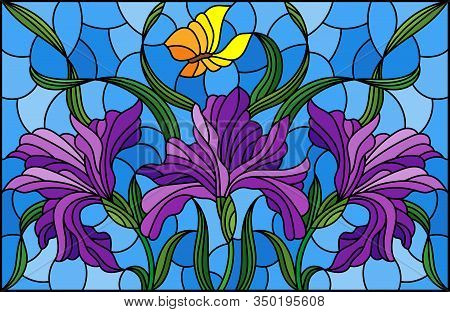 Illustration In Stained Glass Style With A Bouquet Of Purple Irises And Yellow Butterflies On A Blue
