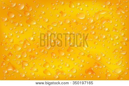Realistic Range Background, Rectangular Surface. Transparent Droplets Orange Of Liquid Lie On On Mot