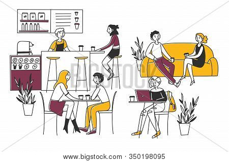 People Sitting In Cafe, Drinking Coffee And Working On Laptops Vector Illustration. Men And Women Co