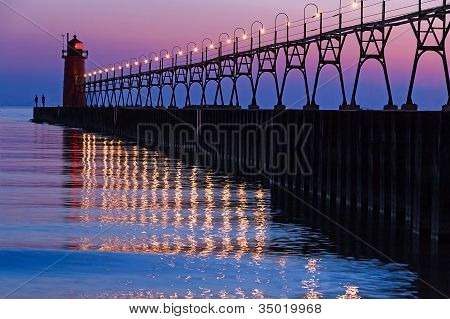 South Haven Lighthouse After Sundown