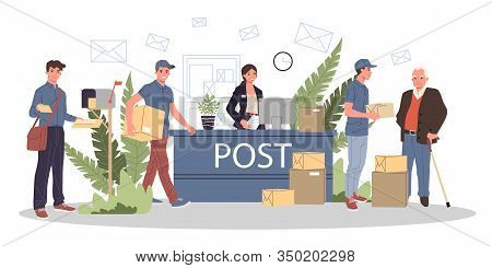 People At Post Office Receiving Parcels And Mails Vector Illustration. Couriers Delivering Correspon