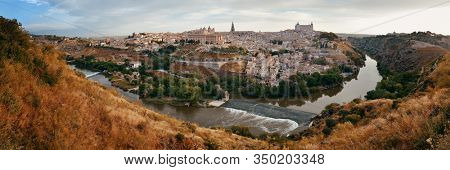 Panorama view of Toledo city skyline with historical buildings in Spain.