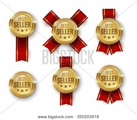 Award Medal 3d Realistic Vector Color Illustrations Set. Reward. Best Seller Golden Medal With Stars