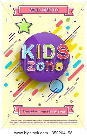 Kids Zone Invitation Flat Banner. Cartoon Colorful Promo Flyer Inviting To Visit Playroom For Childr