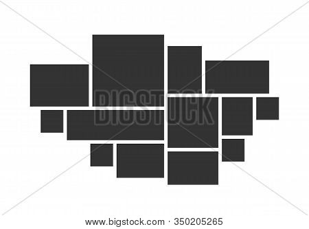 Photo Collage Frames Template For Interior Design. Vector Collage Layout For Photo Montage.
