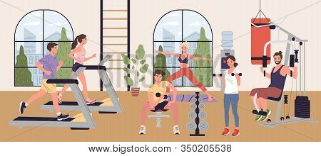People Doing Cardio Exercises, Weight Lifting And Yoga In Gym Vector Illustration. Men And Women Per