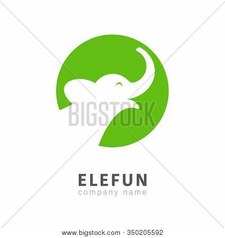 Isolated Elephant Head In Circle Vector Logo. Mammoth Calf Green Sign On A White Background.