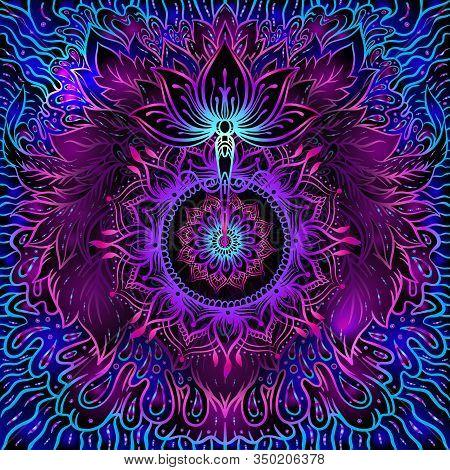 Seamless Pattern With Ornate Lotus Flower. Ayurveda Symbol Of Harmony And Balance And Universe. Boho