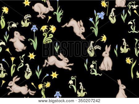 Seamless Pattern, Ackground With Spring Flowers And Rabbits, Hares. Colored Vector Illustration.