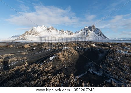 Iceland Landscape Scenics View At Vestrahorn Famous Moutains For Tourist At Stokksnes Peninsula,icel