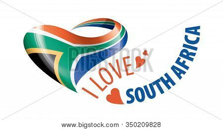 National Flag Of The South Africa In The Shape Of A Heart And The Inscription I Love South Africa. V