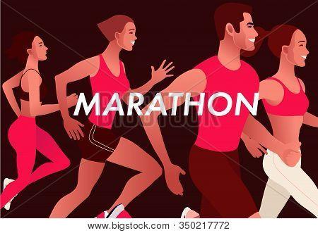 Running Multinational People. Men And Women Jogging Or Running Marathon Outdoor.