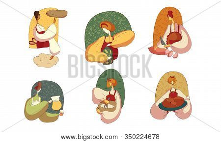 Woman Wearing Apron Cutting Wurst And Baking Bread Vector Illustrations Set
