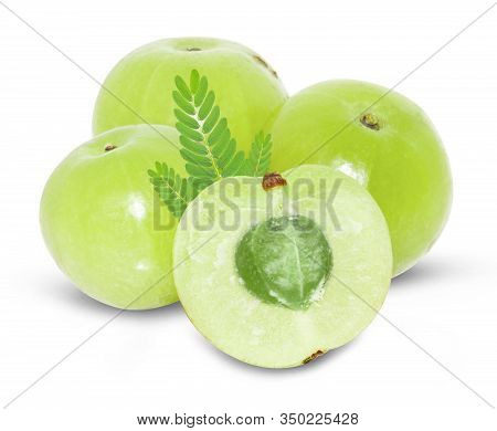 Amla Green Fruits ,phyllanthus Emblica Isolated On White Background. This Has Clipping Path.