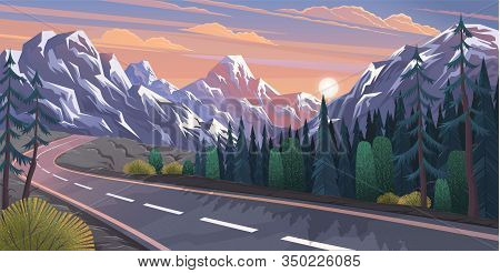 Landscape With Curvy Road And Mountain Range. Travel Or Trip Through Scenery Of Rural Or Countryside