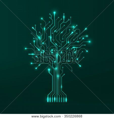 Circuit Tree On Green Background. Modern Hardware Design. Science And Technology Concept. Computer M